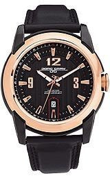 Jorg Gray Leather Black Dial Mens watch #JG9400-23