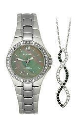 Pulsar Swarovski® Pendant and Womens watch Box set #PTC535