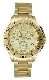 Nautica BFD 101 Chronograph Gold-tone Stainless Steel Mens watch #N21532M