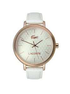 Lacoste Nice Three-Hand White Leather Womens watch #2000885