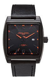 Jorg Gray Leather Black Dial Mens watch #JG5200-18