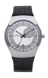 Skagen Swiss Black Label GMT Dual Time Silver Dial Mens watch #983XLSLBC