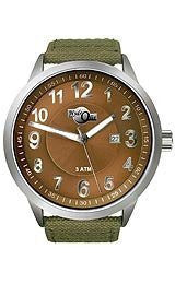 HydrOlix Three-Hand Green Web Fabric/Brown Dial Mens watch #XA00210