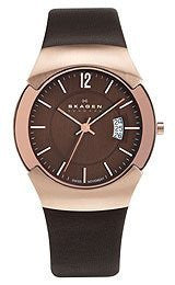 Skagen Rose-Gold Tone & Brown Leather Mens watch #981XLRLD