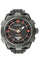 Nautica 3-Hand Perforated Leather Strap Black Dial Mens Watch #N28001G