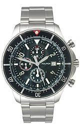 Nautica Chronograph Stainless Steel Bracelet Black Dial Mens Watch #N34500G