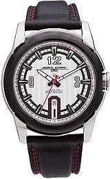 Jorg Gray Leather Black Dial Mens watch #JG9400-21