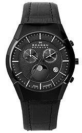 Skagen Black Label Moonphase Chronograph Black Dial Mens watch #901XLBLB