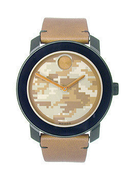 Movado Bold Two-Hand Cognac Leather Strap Unisex watch #3600301