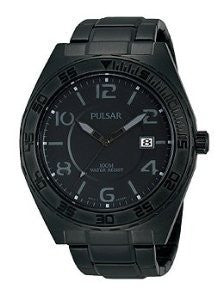 Pulsar On The Go Three-Hand Date Stainless Steel - Black Mens watch #PS9315