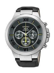 Seiko Solar Chronograph Leather - Black Mens watch #SSC285