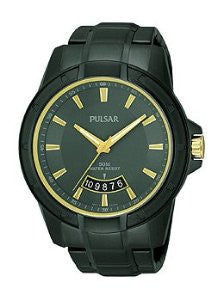 Pulsar Three-Hand Black Stainless Steel Mens watch #PS9273
