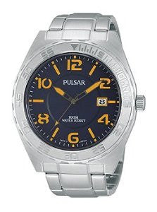 Pulsar On The Go Three-Hand Date Stainless Steel Mens watch #PS9313