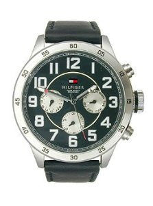 Tommy Hilfiger Multifunction Black Leather Mens watch #1791050
