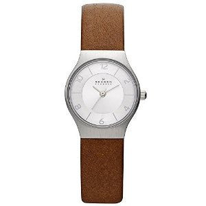 Skagen Grenen Brown Leather and Silver-Tone Stainless Steel Mens watch #SKW2205