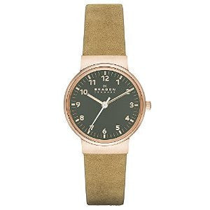 Skagen Ancher Beige Leather and Rose Gold-Tone Stainless Steel Womens watch #SKW2189