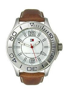 Tommy Hilfiger Three-Hand Brown Leather Mens watch #1790992