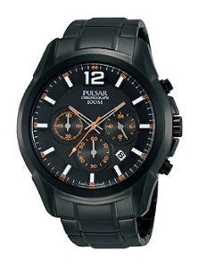 Pulsar On The Go Chronograph Stainless Steel - Black Mens watch #PT3623