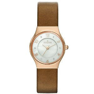 Skagen Grenen Brown Leather and Rose Gold-Tone Stainless Steel Mens watch #SKW2210