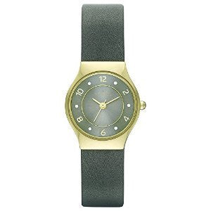 Skagen Grenen Grey Leather and Gold-Tone Stainless Steel Mens watch #SKW2208