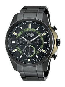 Pulsar by Seiko Chronograph Black Stainless Steel Mens watch #PT3523