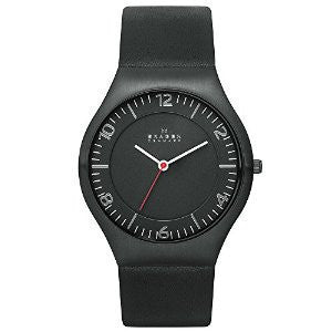 Skagen Grenen Black Leather and Stainless Steel Mens watch #SKW6113