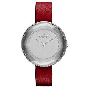 Skagen Gitte Red Leather and Silver-Tone Stainless Steel Womens watch #SKW2273