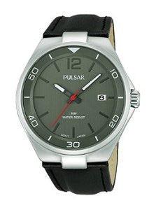 Pulsar Easy Style Three-Hand Date Leather - Black Mens watch #PS9329