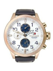 Tommy Hilfiger Multifunction Navy Leather Mens watch #1791139