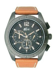 Lacoste Panama Chronograph Black and Tan Leather Mens watch #2010607