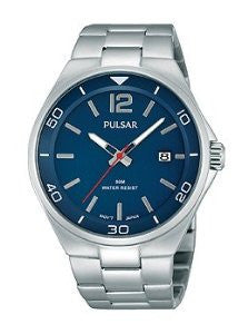 Pulsar On The Go Three-Hand Silver-Tone Stainless Steel Mens watch #PS9325