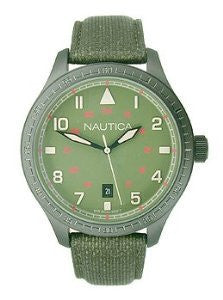 Nautica BFD 105 Date Polyurethane Leather - Olive Mens watch #N11108G