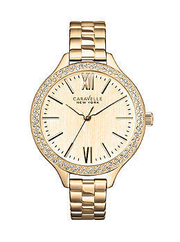 Caravelle New York Three-Hand Stainless Steel - Rose-Gold-Tone Glitz Womens watch #44L125