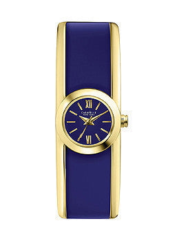 Caravelle New York Three Hand Gold-Tone/Blue Womens watch #44L145