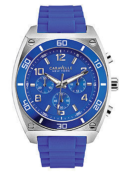 Caravelle New York Chronograph Silicone - Blue Mens watch #45A115