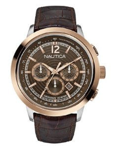 Nautica NCT 750 Classic Chronograph Brown Leather Mens watch #N21024G