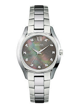 Bulova Diamond Three-Hand Stainless Steel Womens watch #96P158