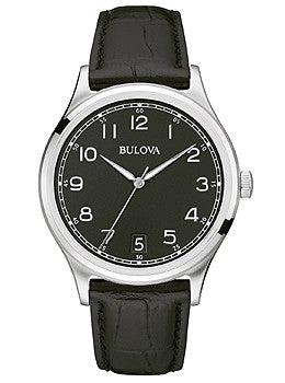 Bulova Classic Three-Hand Black Leather Mens watch #96B233