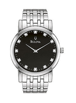 Bulova Diamond Collection Black Dial Mens Watch #96D106
