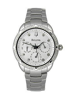 Bulova Diamond Bracelet Silver-Tone Dial Womens Watch #96R195