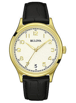 Bulova Classic Three-Hand Black Leather Mens watch #97B147