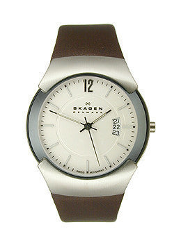 Skagen Silver Tone & Brown Leather Mens watch #981XLSLD
