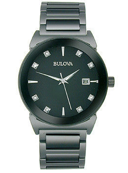 Bulova Diamond Collection Black Dial Mens Watch #98D121