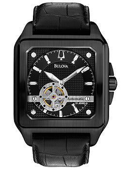 Bulova Mechanical Black Croco Leather Mens watch #98A130