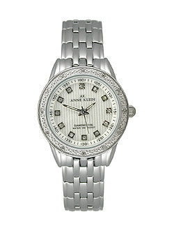 Anne Klein Diamond Silver-Tone Striped Dial Womens Watch #9935SVSV