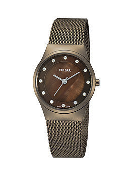 Pulsar Easy Style Collection Steel Mesh - Brown Womens watch #PH8055
