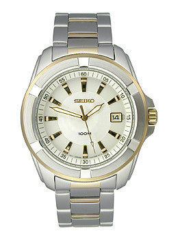 Seiko Two-tone Bracelet White Dial Mens watch #SGEE74P1