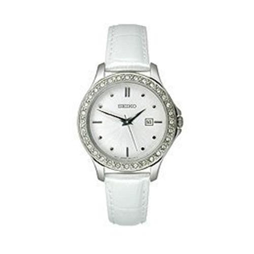 Seiko Leather Brushed Silver-Tone Dial Women's Watch #SXDF93