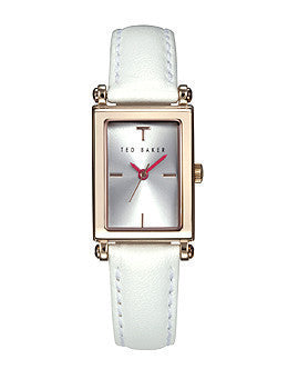 Ted Baker Rectangular Dial Leather - White Womens watch #TE2114