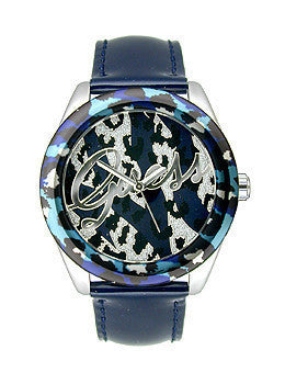 Guess Blue and Silver-Tone Sexy Animal Print Womens watch #U0455L1